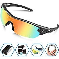 torege–Gafas Deportes anteojos de sol con 5Intercambiables lenes para hombres mujeres Ciclismo Running conducción Pesca Golf Béisbol polarizadas TR002