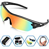 Compra Torege Polarized Sports Sunglasses With 5 Interchangeable Lenes for Men Women Cycling Running Driving Fishing Golf Baseball Glasses TR002 (Black&Rainbow lens) en Usame