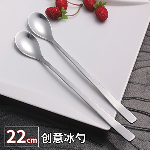 Stainless Steel Long Handle Spoon Shaved Ice Cream Ice Cream Tea Mixing Spoon 3 Pack