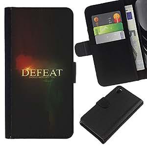 All Phone Most Case / Oferta Especial Cáscara Funda de cuero Monedero Cubierta de proteccion Caso / Wallet Case for Sony Xperia Z3 D6603 // Defeat Black Text Meaning Thought