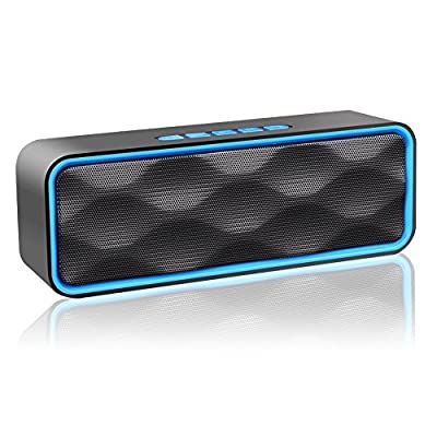 MANCASSY N7 Wireless Bluetooth Speaker, Outdoor Portable Stereo Speaker with HD Audio and Enhanced Bass, Built-In Dual Driver Speakerphone, FM Radio and TF Card Slot ( Blue )