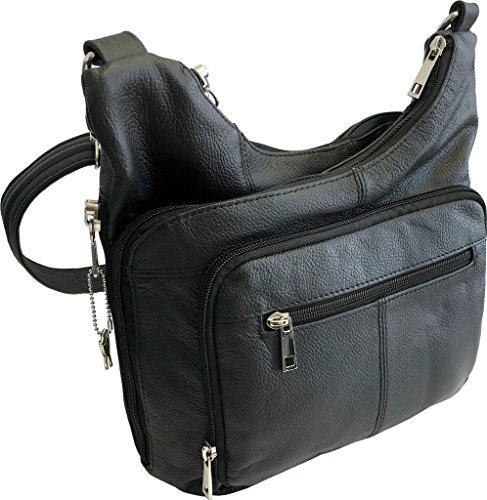Roma Leathers Stylish Leather Locking Concealment Crossbody Purse - CCW Concealed Carry Gun Handbag, Ambidextrous, Black (7085-BLK)