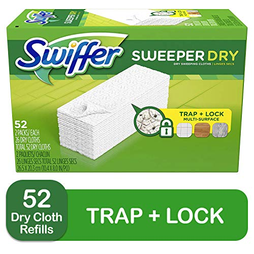 Swiffer Sweeper Dry Mop Refills for Floor Mopping and Cleaning, All Purpose Floor Cleaning Product, Unscented, 52 Count (Am Lab Cleaning Products)