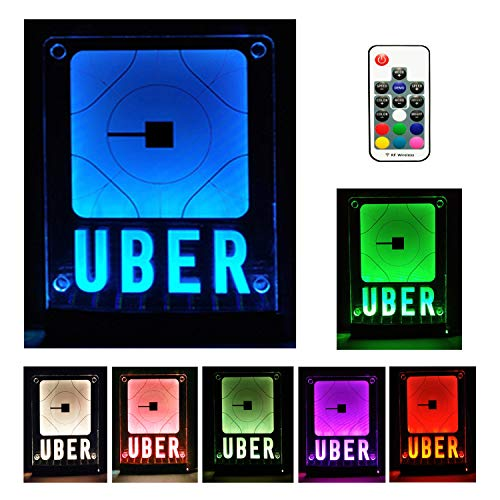 (Uber Sign,LED Logo Light,Decal Glow Accessories,Wireless Control,Remote Intelligent Control 16 Glowing Colors 4 Control Modes, Uber Lyft Sign Light Up Sticker for Car,30M Wide Signal Coverage)