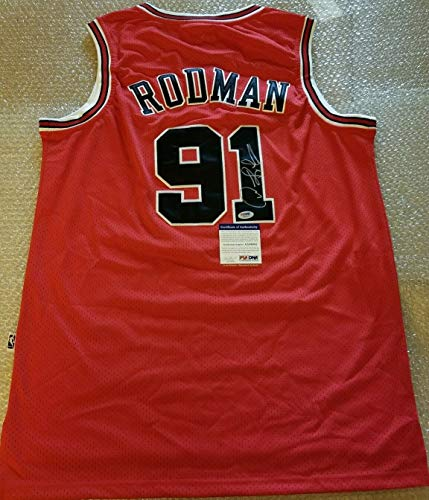 Dennis Rodman Autographed Signed Authentic Adidas Bulls Jersey - PSA/DNA Authentic Itp - Basketball Memorabilia