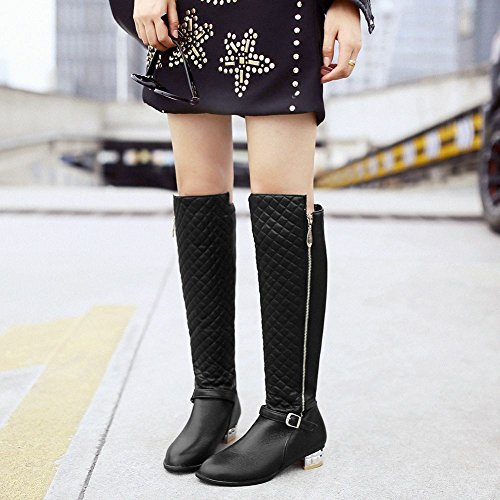 Charm Foot Fashion Mujeres Low Heel Over The Knee Riding Botas Negro