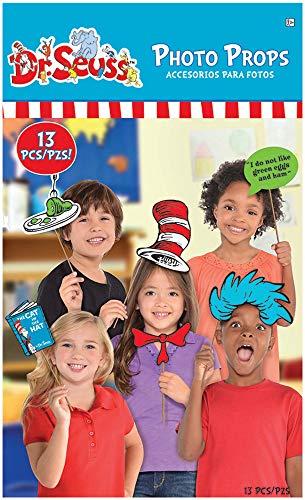 Amscan Dr. Seuss Photo Prop Kit, 13 Pack Party Supplies, Multicolor