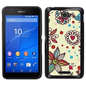 For Sony Xperia E4 , S-type® Petal Bloom Hearts Valentines - Arte & diseño plástico duro Fundas Cover Cubre Hard Case Cover