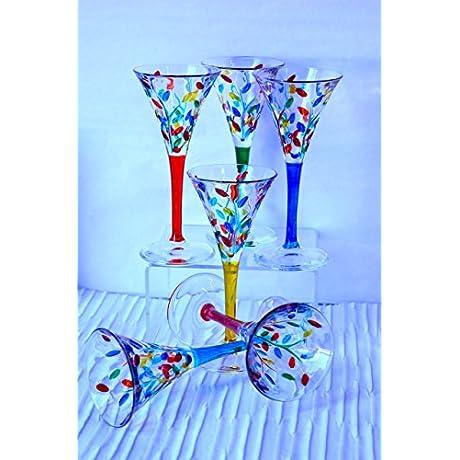 Murano Glass Flowervine Wine Glasses Set Of 6