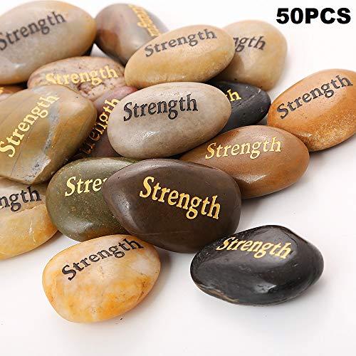 50PCS Strength RockImpact Strength Stone Encouragement Gifts Engraved Inspirational Stones Bulk Zen Healing Chakra Balancing Inspiring Rocks Prayer Word Stones Wholesale Strength Rock,2-3 Each