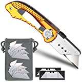 Box Cutter, Folding Utility Knife Pocket Knife with 11 Stainless Steel Blades, Lock-Back Design, Aluminum Handle and Belt Clip by Xultrashine (Yellow)