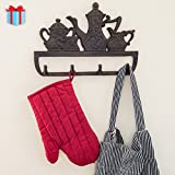 Decorative Cast Iron Kitchen Storage Towel Rack   Old Fashioned Tea Pot With 4 Hooks - Wall Mounted Towel Hanger   - 11.8 x 7.9