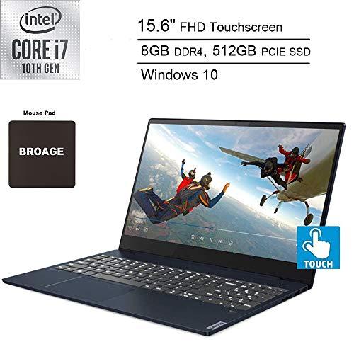 "2020 Newest Lenovo Ideapad S340 Laptop Computer_ 10th Gen Intel Quard-Core i7 1065G7_ 15 15.6"" FHD Touchscreen_ 8GB DDR4_ 512GB PCIe SSD_ Backlit KB_ Abyss Blue_ Windows 10_ BROAGE MousePad"