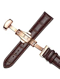 12-17mm Genuine Leather Rose Gold Quick Release Clasp Wrist Watch Bands Strap For Ladies Womens (12mm, Brown & Brown Line)