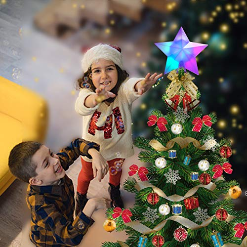 Christmas Tree Topper Lighted with Automatic Color Changing LED Light,USB Powered 3D Christmas Star Tree Topper for Crown Christmas Tree,Xmas/Holiday/Winter Home Wonderland Party Decoration