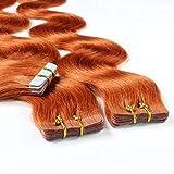 Hair2Heart 10 x 2.5g Tape Extensions - 20', colour #130 deep copper blond