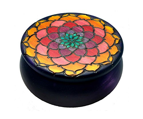 - Golden Lotus Flower Round Wooden Box Polish Handmade Keepsake
