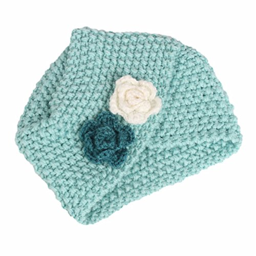 Qhome Winter Girls Knit Beanie Flower Knitted Turban Headband Kids Cap Acrylic Knitting Turbante Hat Hair accessories ()