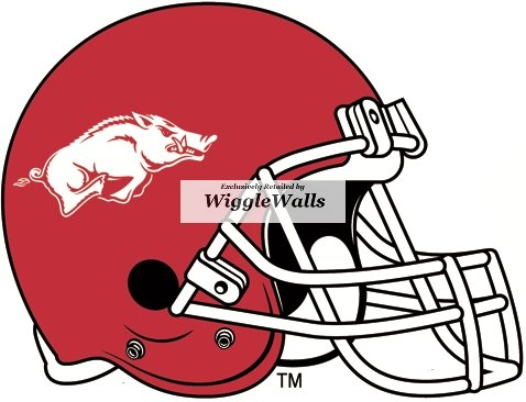 6 Inch Razorbacks Football Helmet University of Arkansas Uark Hogs AR Hog Logo Removable Wall Decal Sticker Art NCAA Home Room Decor 6.5 by 5 Inches