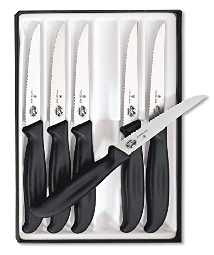Victorinox Cutlery 6-Piece 4-1/2-Inch Wavy Edge with Pointed Tip Steak Knife Set, Black
