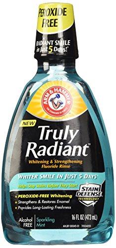 Arm & Hammer Truly Radiant Whitening & Strengthening Sparkling Mint Fluoride Rinse, 16 Fl (Whitening Rinse)