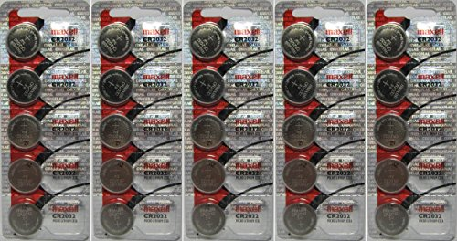Maxell CR2032 Lithium Batteries - Pack of 25, New Hologram Packaging That Guarantees Authenticity