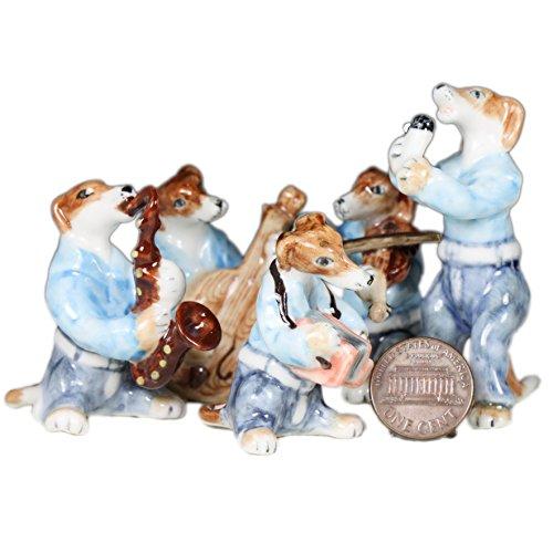 Greyhound Dog Music Band Set Ceramic Pottery Animal Miniature Figurine Hand Painted (2