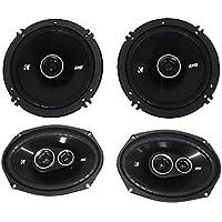 Package: Pair of Kicker 43DSC69304 6x9 360 Watt 3-Way Speakers With 4-Ohm Impedance + Pair of Kicker 43DSC6504 6.5 240 Watt 2-Way Coax Car Stereo Speakers