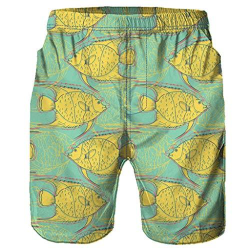 NUWFOR Men Casual 3D Graffiti Printed Beach Work Casual Men Short Trouser Shorts Pants(Yellow,US:S Waist26.0-29.9'') by NUWFOR (Image #2)