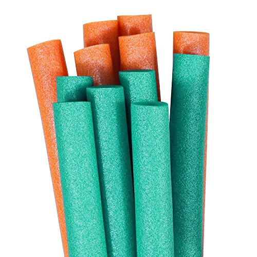 Pool Mate Premium Swimming Pool Noodles, Teal and Orange 12-Pack