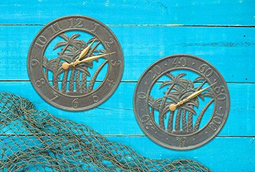 Whitehall Products Palm Clock, Bronze Verdi