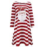 STORTO Women Christmas Plus Size Dress Santa Claus Print Stripe Nightdress Pajamas Red