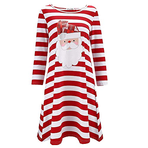 PASATO Women Christmas Print Santa Claus Long Sleeve Dress Evening Party Mini Dress Fashion Girls Skirt (red,XXXL=US:XXL) -