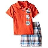 Kids Headquarters Little Boys' Toddler 2 Piece Set- Polo Shirt and Plaid Short, Multi, 3T