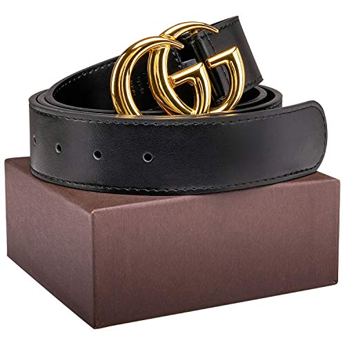 590a4d7de Luxury Gold/Silver Buckle GG Black genuine Leather Unisex Belt for Men or  Women Pants