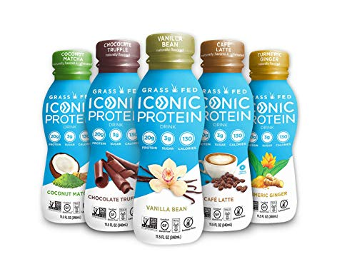 Iconic Grass Fed Protein Drink, Sample Pack (5 Flavors) | Healthy, Natural Clean Protein Shake | Perfect Snack for Breakfast, Post Workout Muscle Recovery, Light Meal Replacement | Paleo Friendly