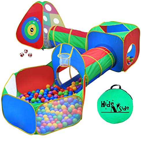 5pc Kids Ball Pit Tents and Tunnels, Toddler Jungle Gym Play Tent with Play Crawl Tunnel Toy, for Boys babies infants Children, w/ Basketball Hoop, Indoor & Outdoor, Dart Wall Game w/ 3 Dart Balls from Hide N Side