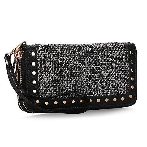 K A Double Zipper Around Wallet Clutch Large Travel Purse Chevron Zigzag RFID Blocking for Women, Girls (Black-1)