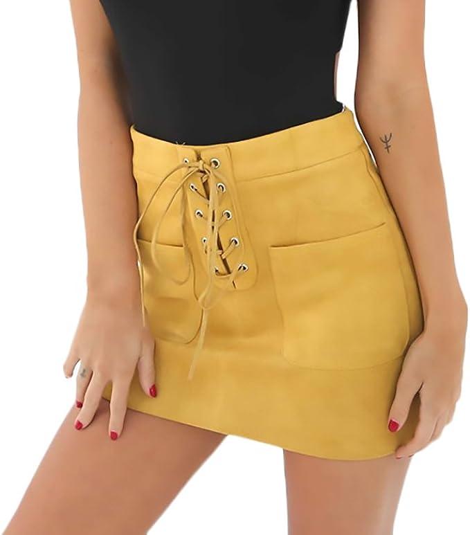 Faldas Mujer Vintage Gamuza Moda Vendaje Faldas Cortas Elegantes ...