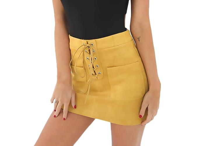 1f726536e Faldas Mujer Vintage Gamuza Moda Vendaje Niñas Ropa Faldas Cortas Elegantes  Talle Alto con Bolsillo Color