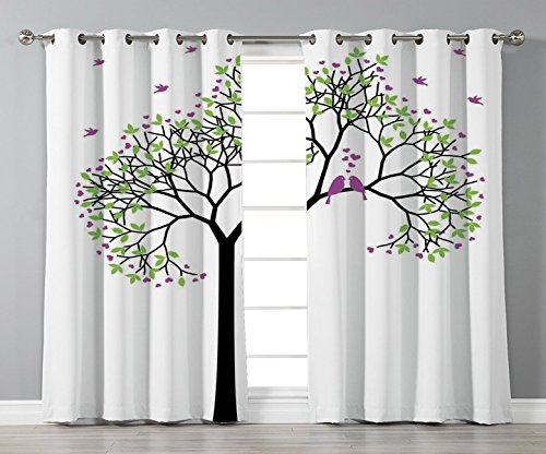 Satin Grommet Window Curtains,Flying Birds Decor,Spring Tree with Flying Love Birds Floral Branches Romance Couple Home Art,Green Black Purple,2 Panel Set Window Drapes,for Living Room Bedroom Kitchen