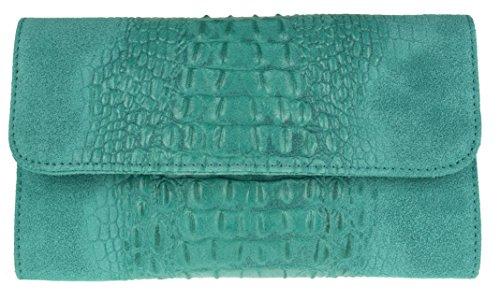 Girly HandBags Croc Suede Clutch Bag Italian Leather Turquoise
