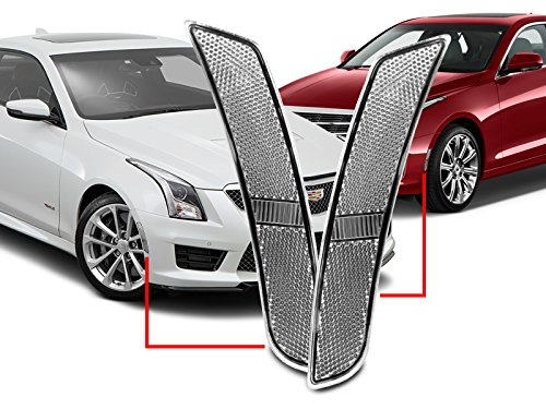 DEPO Clear Front Bumper Side Marker Lights Fit for 2014-2017 Cadillac CTS CTS-V / 2015-2017 Cadillac ATS Models