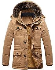 moxishop Winterjas voor heren, warme parka, jas met bont, winterjas met capuchon, overgangsjas, gevoerde winterparka
