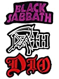 : Set_ROCK011 - Black Sabbath Patch, Dio Patch and DEATH Music Songs Rock Patch, 3 Pcs Heavy Metal Patches, Applique Embroidered Patches - Rock Band Iron on Patches