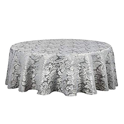 Restaurant Covers Table (VIMOO Elegant Damask Jacquard Tablecloth Waterproof Spillproof Water Resistant Washable Table Cover, Kitchen Wedding Restaurant Party Picnic Use (Silver Gray, Round-70 inch))