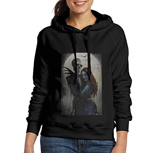 Nightmare Before Christmas Halloween Women Pullover Hooded Long Sleeve Hoodie Sweatshirt (Nightmare Before Christmas Jack Skeleton)