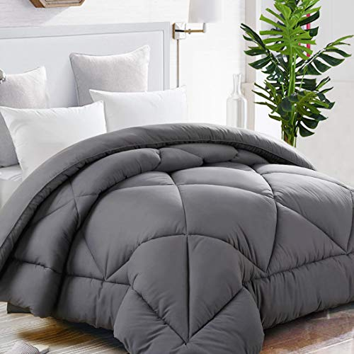 TEKAMON Queen Comforter Soft Quilted Down Alternative Duvet Insert with Corner Tabs Warm Winter 2100 Series,Luxury Fluffy Reversible Hotel Collection,Hypoallergenic for All Season,Grey,88 x 88 inches Black Friday & Cyber Monday 2018
