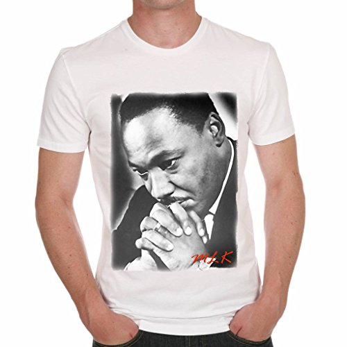 Martin Luther King Prying Men's T-shirt Celebrity Star ONE IN THE CITY - White, XXXL