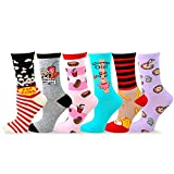TeeHee Women's Foods Theme Cotton Crew Socks 6-Pack (Style 3)